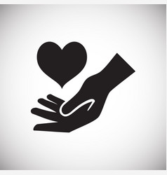 heart gifting hand on white background vector image
