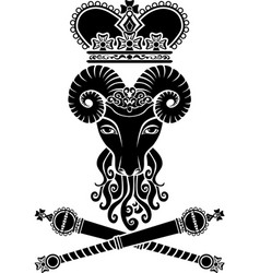 Heraldic ram with a crown and scepter vector