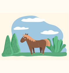 horse with blond mane animal stand on meadow vector image
