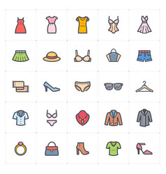icon set - clothing woman stroke with color vector image