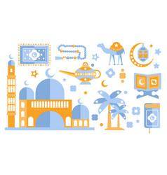 islamic culture color icons set muslim attributes vector image