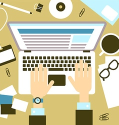 Laptop with hands vector image