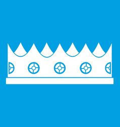 little crown icon white vector image