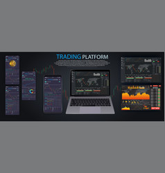 Market trade binary option trading platform vector