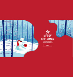 merry christmas happy new year polar bear vector image