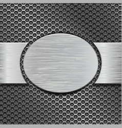 Metal brushed plate with scratched texture on iron vector
