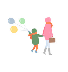 Mm and child turning back in warm clothes vector