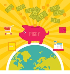 Moneybox Piggy in Flat Design Style vector image