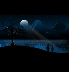 Moonlight landscape design vector