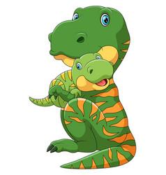 Mother dinosaur carrying cute baby dinosaur vector