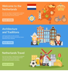 Netherlands Travel Flat Banners vector image