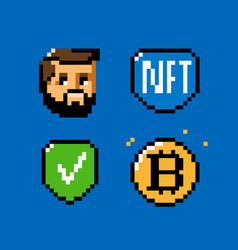 Nft token blockchain icon set digital currency vector