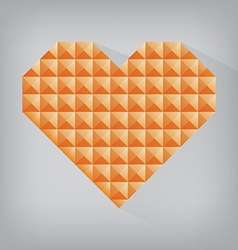 Orange retro heart triangle abstract love vector