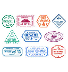 passport visa stamps set arrival and departure vector image