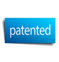 Patented blue paper sign on white background vector