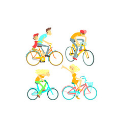 People on bikes set vector