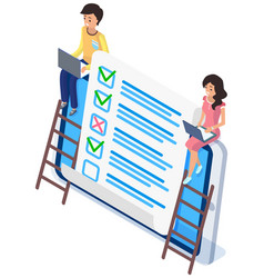 people studying questionnaire check and grade test vector image