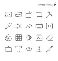 Photography line icons editable stroke vector