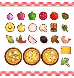 Pizza constructor flat icons isolated on vector