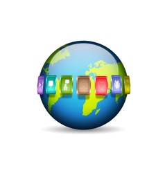 Planet with media icons vector image