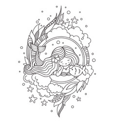 Portrait of dreamy lying mermaid with flower in vector