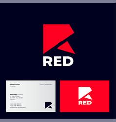 r monogram logo red origami logo geometric vector image