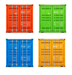 realistic closed cargo containers vector image