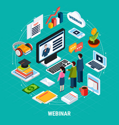 round webinar isometric composition vector image