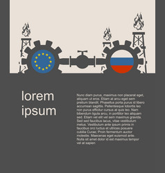 Russia and european union flags on gears vector