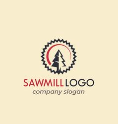 sawmill logo design vector image