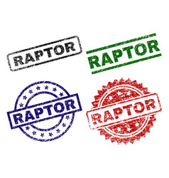 Scratched textured raptor seal stamps vector