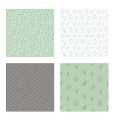 seamless patterns with leaves and foliage vector image