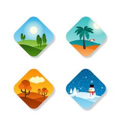 Seasons year flat design icon vector