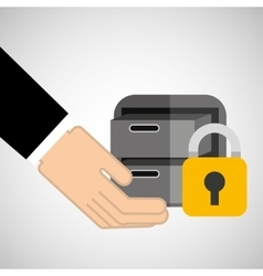 Security concept hand with files vector