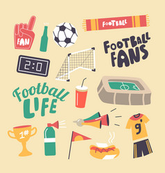 set icons football fans attribution theme vector image