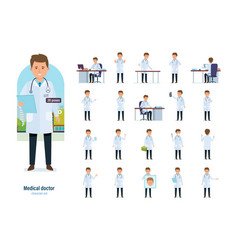 Set of character medical doctor healthcare help vector