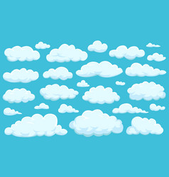 set of clouds of different shapes in the sky for vector image