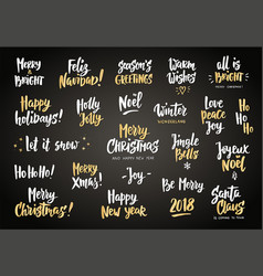 Set of holiday greeting quotes and wishes hand vector