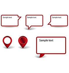 Set of red pointers on white background with vector image