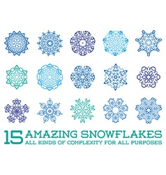 Set of Snowflakes Fractals or Mandala icons great vector image