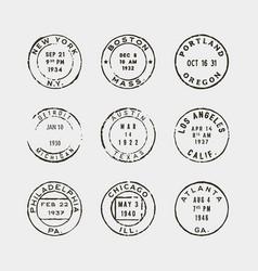 Set of vintage postage stamps vector