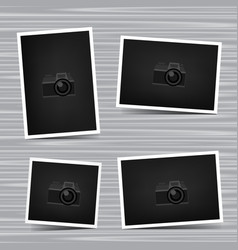 set photos on wooden background vector image