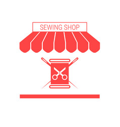 Sewing shop tailoring workshop single flat icon vector