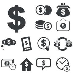 Simple dollar icon set vector