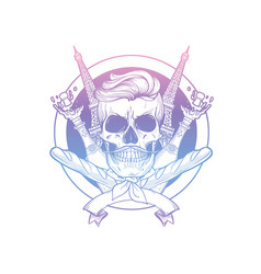 sketch french skull with beret vector image