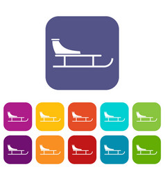 Sled icons set vector