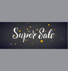 super sale banner with calligraphic vector image