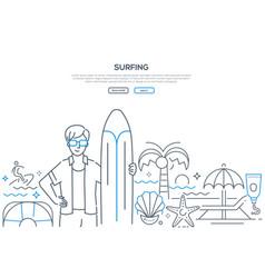 surfing - modern line design style web banner vector image
