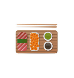 sushi breakfast food and chopsticks vector image