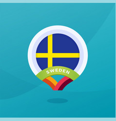 sweden flag map location pin european football vector image